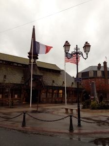 Flags and Market Hall, Etretat, Normandy